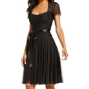 JS Collections Black Satin Stripe Cocktail Dress
